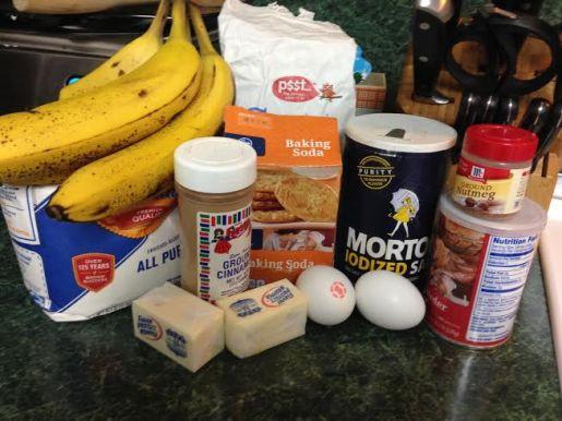 Ingredients: Sugar, Butter, Eggs, Bananas, Cinnamon, Nutmeg, Milk, Flour, Baking Soda, Baking Powder, Salt & Nuts!
