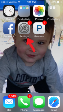 Go to your homescreen and click settings. (Everyone stop freaking out about my unread emails!)