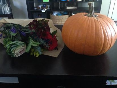 Beautiful fall bouquet and my Med/LG pumpkin